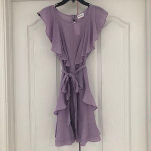 Lavender tie waist dress